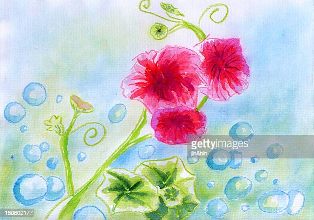 watercolor red flower and bubbles