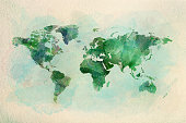 Watercolor vintage world map in green colors