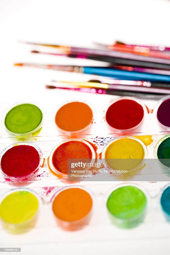 watercolors and brushes : Stock Photo