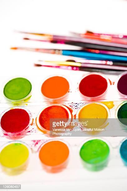 watercolors and brushes - vanessa van ryzin foto e immagini stock