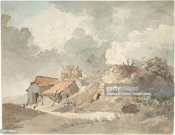 Watercolour and pencil drawing attributed to P J de Loutherbourg of lime kilns at Coalbrookdale in Shropshire showing a brick kiln with smoke sheds...