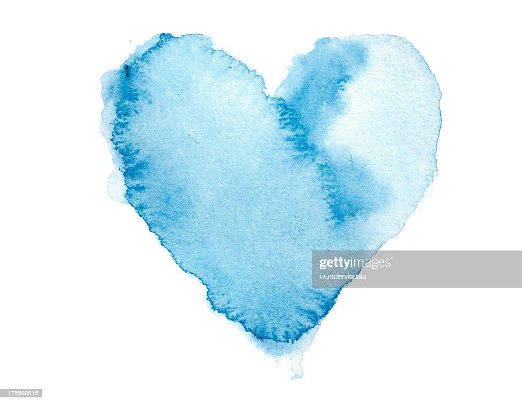 Strukturierte Wasserfarben Gemalte Herz Blau : Stock-Foto