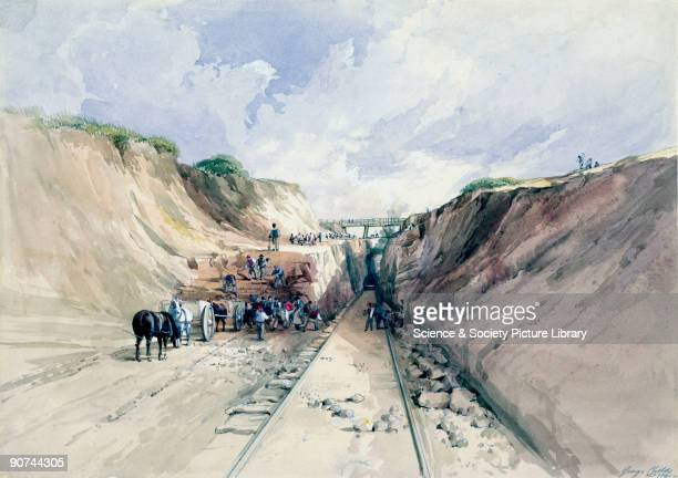 Watercolour by George Childs showing a view of a railway cutting possibly on the Great Western Railway line between Bath Somerset and Bristol...