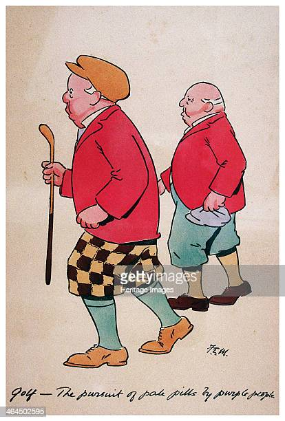 Watercolour cartoon British 1928 Caption Golf the pursuit of pale pills by purple people