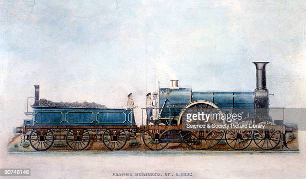 Watercolour drawing by E Rees showing the 'Tartar' a locomotive of the 'Iron Duke' class designed by Sir Daniel Gooch and built at the GWR's Swindon...