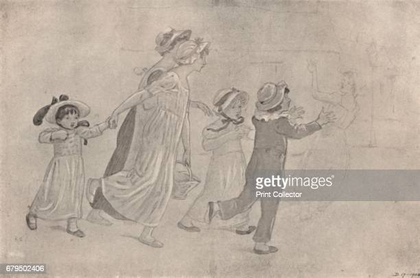 WaterColour Drawing for Colour WoodBlock Print' 18801890 Catherine Kate Greenaway was an English children's book illustrator and writer Her drawings...