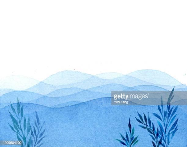watercolour drawing of ocean waves - 藻 ストックフォトと画像