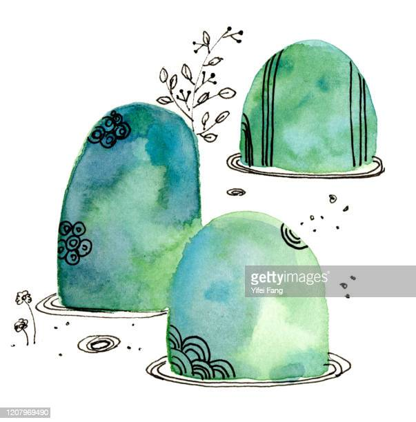 watercolour illustration of abstract stones and plants in pond - pond stock pictures, royalty-free photos & images