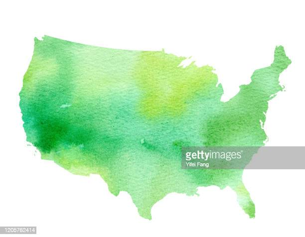 watercolour illustration of the united states of america - usa stock pictures, royalty-free photos & images