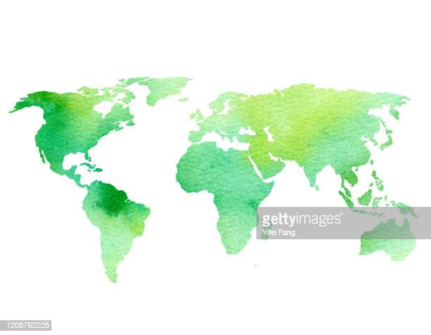 watercolour illustration of world map - world map stock pictures, royalty-free photos & images