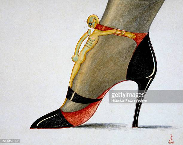Watercolour of a Women's High Heeled Shoe with a Male Figure as an Ornament