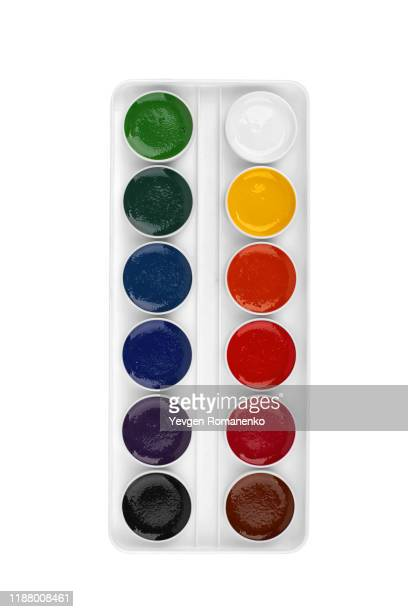 watercolour paint in white box, isolated on white background - artist's palette stock pictures, royalty-free photos & images