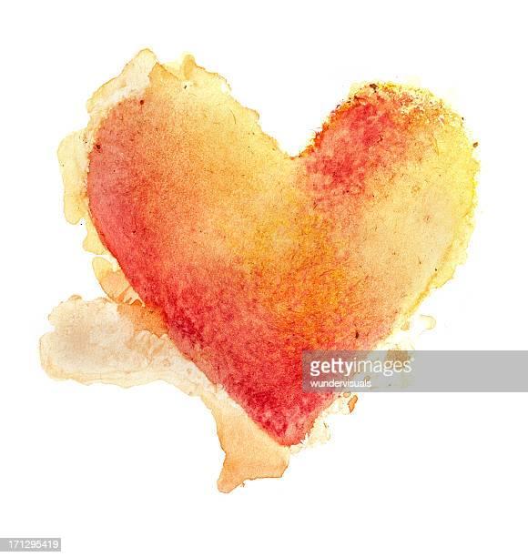 Aquarelle peinte coeur texturé