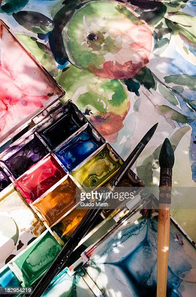 Watercolour pallette and painting