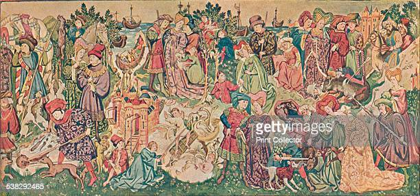 Watercolour rendering of one of the Hardwicke Tapestries c1902 The orginal 15th century tapestries probably belonged to the Countess of Shrewsbury...