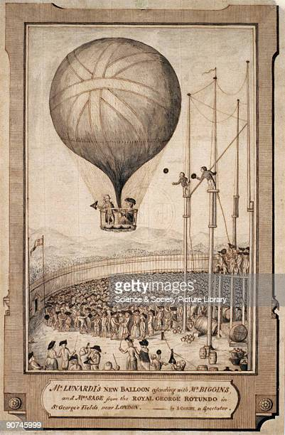 Watercolour sketch by I Cordy a spectator showing Lunardi's second balloon carrying George Biggin and Mrs Sage away from the Royal George Rotunda in...