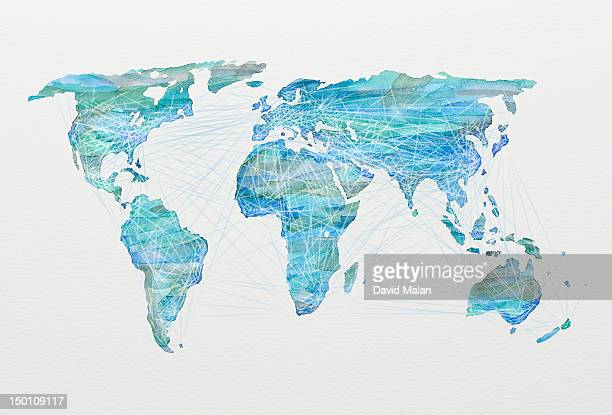 Watercolour world map depicting global connections