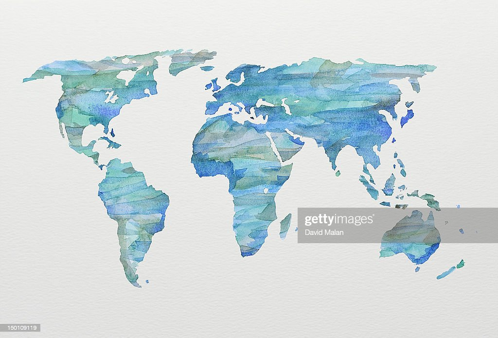 watercolour world map in blues and greens stock photo getty images