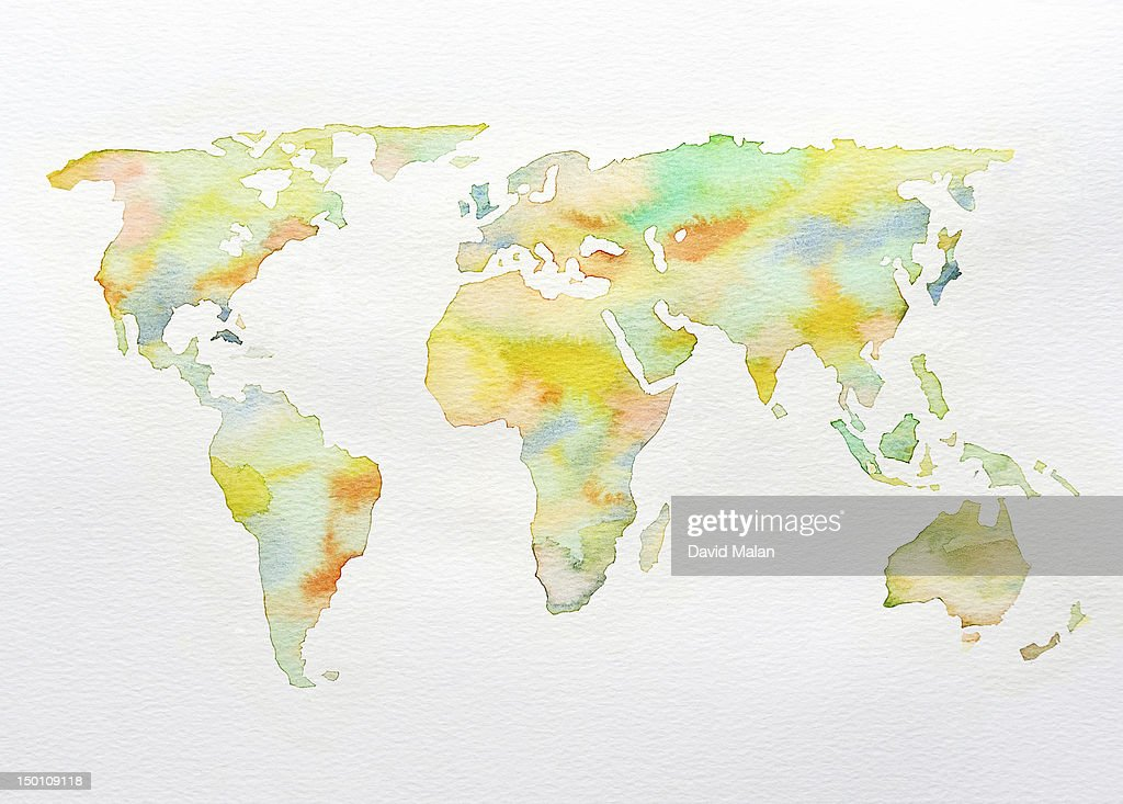 Watercolour World Map In Soft Colours Stock Photo - Getty Images on three-dimensional world map, vintage world map, painting world map, jewelry world map, silver world map, unique world map, sepia world map, artistic world map, illustration world map, colorful world map, flowers world map, creative world map, miniature world map, doodle world map, transparent world map, nature world map, old world map, cute world map, blank world map, abstract world map,