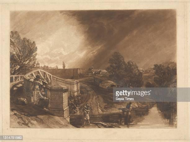 Watercress Gatherers, Rail's Head, Ferry Bridge, Twickenham, Etched by Joseph Mallord William Turner, 1775–1851, British, Engraved by Thomas Goff...