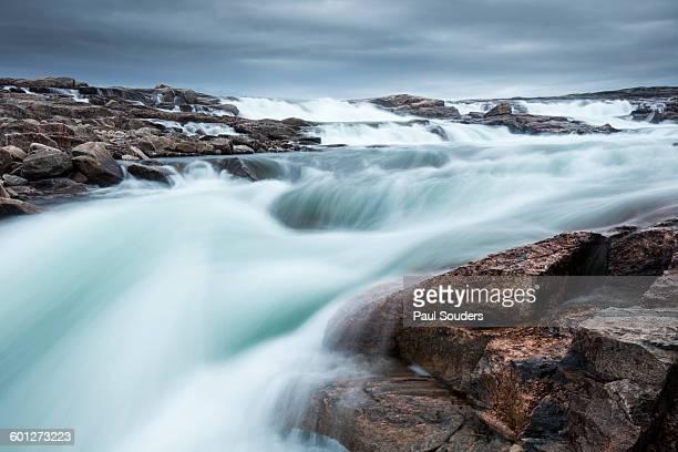 Waterfall along Hudson Bay, Nunavut, Canada