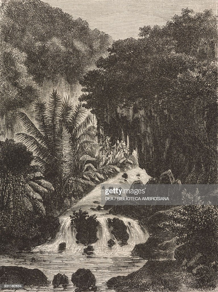 Waterfall, Ambon island, drawing by Hubert Clerget : News Photo