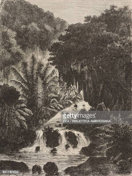 Waterfall Ambon island drawing by Hubert Clerget from The Malay Archipelago 18611862 by Alfred Russell Wallace from Il Giro del mondo Journal of...