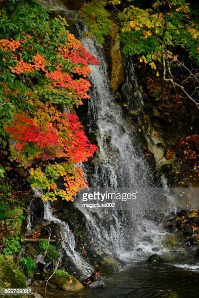 中野紅葉山、黒石、青森県で紅葉と滝