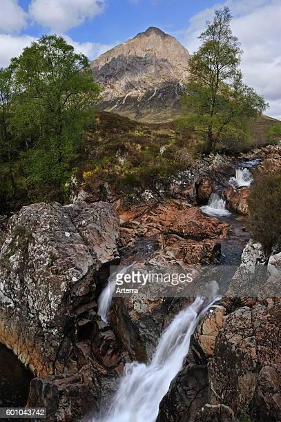 Waterfall and Buachaille Etive Mor at Glen Etive in Glencoe / Glen Coe, Highlands, Scotland, UK.