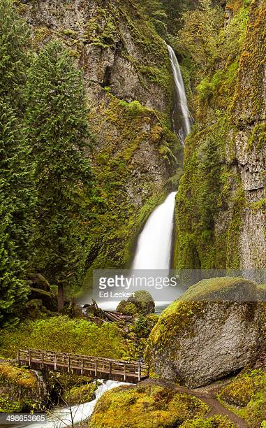 waterfall and footbridge - leckert stock pictures, royalty-free photos & images