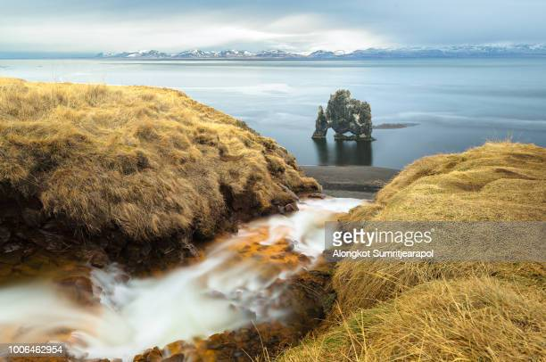 waterfall and hvitserkur is spectacular rock in the sea on the northern coast of iceland. - peninsula stock pictures, royalty-free photos & images