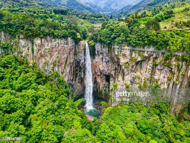 waterfall and lake - zhejiang province stock pictures, royalty-free photos & images