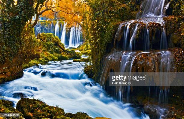 Waterfall and stream, Duden Waterfalls, Antalya, Turkey