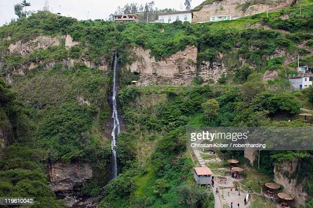 waterfall at santuario de las lajas, ipiales, colombia, south america - nariño department stock photos and pictures