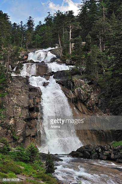Waterfall at the Pont d'Espagne in the HautesPyrenees near Cauterets Pyrenees France