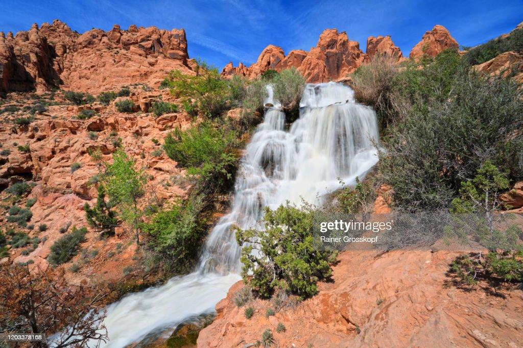 Waterfall between red sandtsone rocks in a desert landscape : Stock-Foto