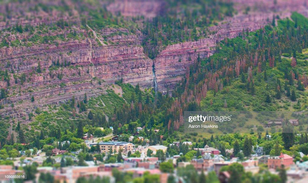 Waterfall City - Ouray Colorado : Stock Photo