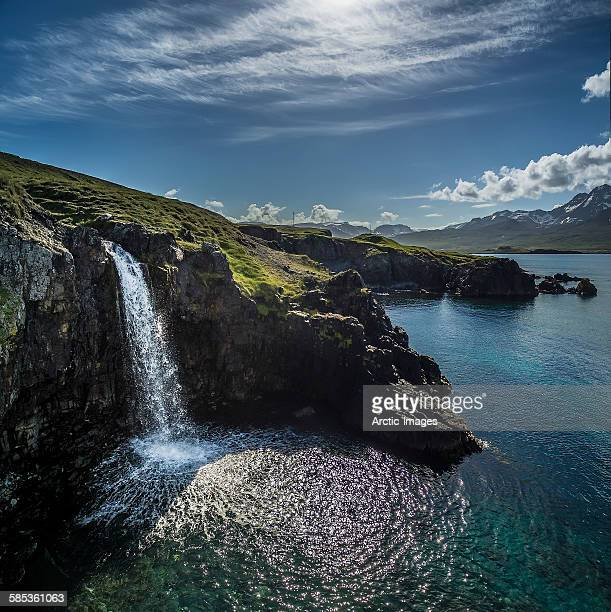 Waterfall, cliff side, Borgafjordur East, Iceland