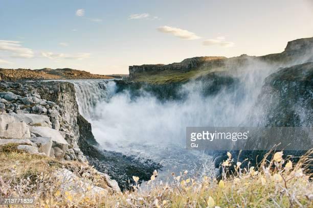waterfall dettifoss, vatnajokull national park, iceland - dettifoss waterfall stock photos and pictures