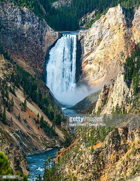 waterfall from the yellowstone river, yellowstone national park - emery stock photos and pictures