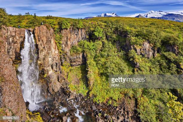 waterfall hundafoss, skaftafell, austurland, iceland - austurland stock pictures, royalty-free photos & images