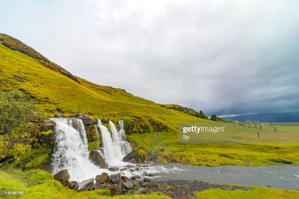 Waterfall in a canyon close to the Seljalandsfoss in Iceland : Stock Photo