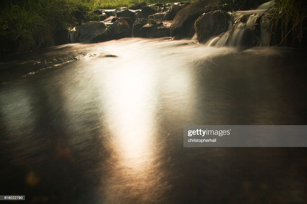 Waterfall in a small country stream. Long exposure. : Stock Photo