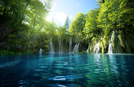 waterfall in forest, Plitvice Lakes, Croatia 914505090