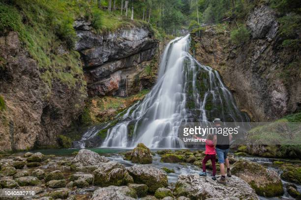 waterfall in golling - salzburg stock pictures, royalty-free photos & images