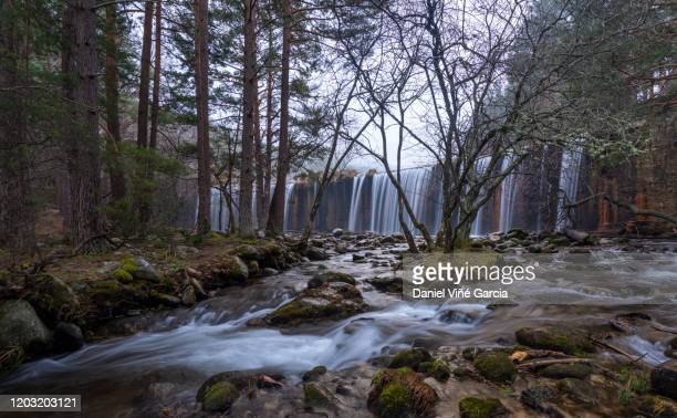 waterfall in guadarrama national park - segovia stock pictures, royalty-free photos & images