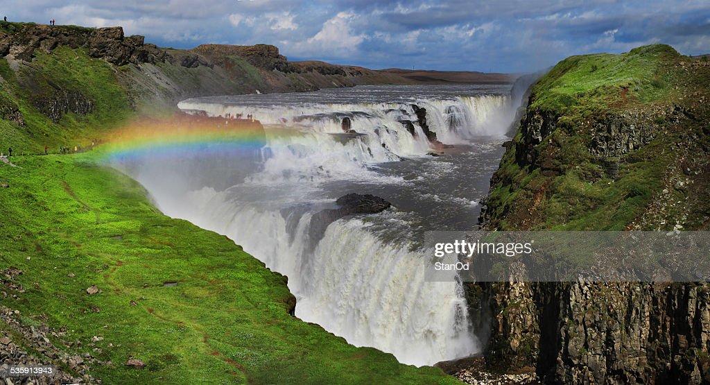 Waterfall in Iceland. Gullfoss. : Stock Photo