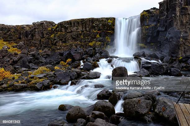 waterfall in iceland - pingvellir national park stock photos and pictures