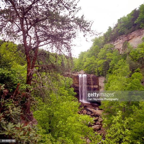 Waterfall in mountain setting