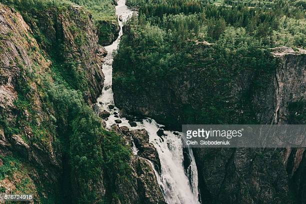 waterfall in mountains - nordic countries stock pictures, royalty-free photos & images